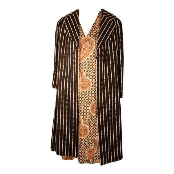BILL BLASS 1960s 2 pc Paisley Print Shift Dress & Striped Jacket Set