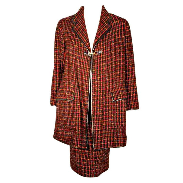 BONNIE CASHIN 1960s 2 pc Red Wool Tweed Coat and Skirt Set