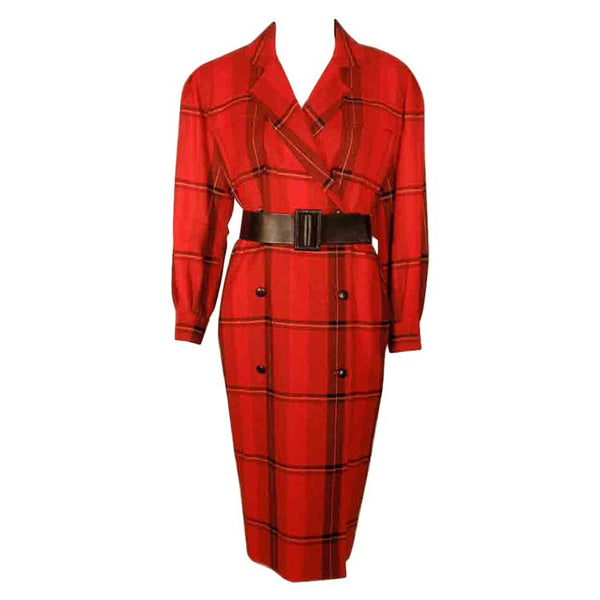 COURREGES 1980s Red Plaid Wool Double Breasted Dress