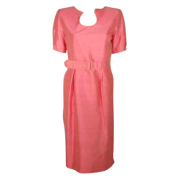 COURREGES Pink Silk Dress with Belt Size 38