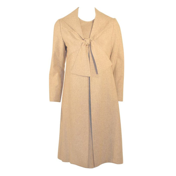 BILL BLASS 2 pc Oatmeal Wool Sheath Dress with Tie Front Coat
