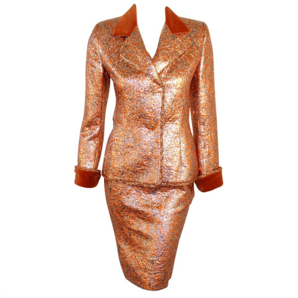 GIVENCHY Couture Copper Suit with Velvet Trim Size 4