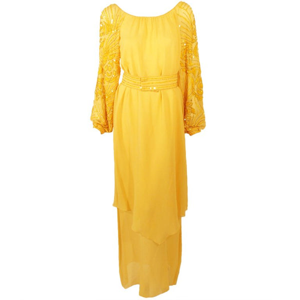 RETY Paris 1970s 2 pc Yellow Chiffon & Sequin Gown, Belt