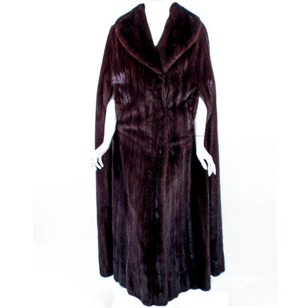 MICHAEL FORREST Dark Brown Ranch Mink Long Cape with Collar