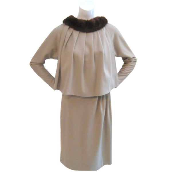 SCHUBERT Tan Dress and Cape Size 40