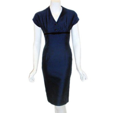 LANZ Dark Blue Square Pattern Zipper Back Cocktail Dress