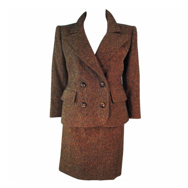 YVES SAINT LAURENT 1970s Brown & Green Skirt Suit Size 4-6