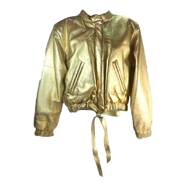YVES SAINT LAURENT 1987 Metallic Gold Leather Bomber Jacket