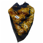 YVES SAINT LAURENT Black Floral Wool Scarf