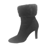 YVES SAINT LAURENT Brown Suede Ankle Boots with Mink Trim Size 8