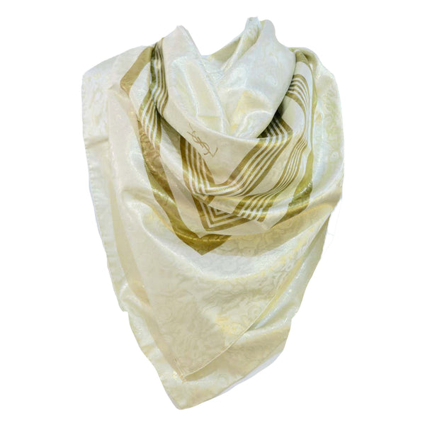 YVES SAINT LAURENT Champagne Metallic Silk Scarf