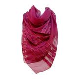 "YVES SAINT LAURENT Purple Metallic Stripe Scarf. Made in France of pure silk and finished by hand with finely rolled hand-stitched edges, this eye-catching YSL scarf is 48"" x 48"" in size and features a metallic stripe design."