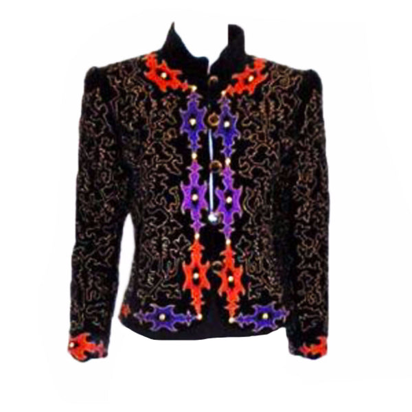 YVES SAINT LAURENT Velvet Evening Jacket with Gold Embroidery