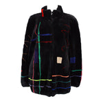 ZUKI Multicolor Line Pattern and Black Sheared Beaver Fur Coat
