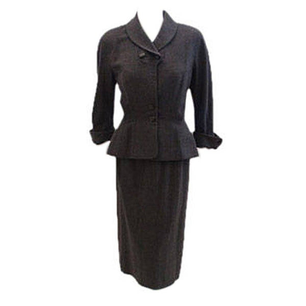 HATTIE CARNEGIE 1950s 2 pc Grey Wool Fitted Jacket Skirt Set