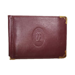 CARTIER Vintage Burgundy Leather Bill Fold Two Card Pocket Wallet Billfold