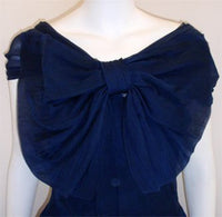 CHRISTIAN DIOR New York 1950s Navy Blue Chiffon Gown