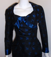 CEIL CHAPMAN 1960s Black and Blue Silk Cocktail Dress
