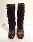 MARC JACOBS Gray Suede and Leather Button Up Spat Design Boots Size 8