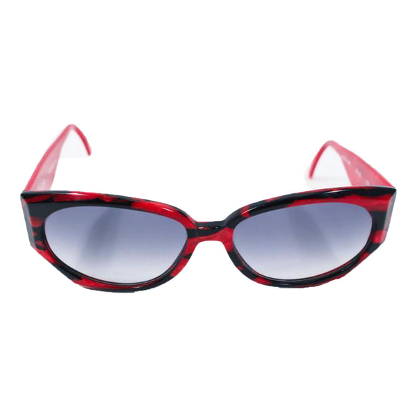 KRIZIA Vintage Black and Red Marbled Sunglasses Wide Frame Italy