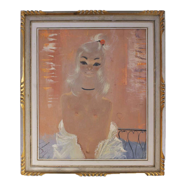 IGOR PANTUHOFF 1960s Girl with Lace and Black Choker Painting