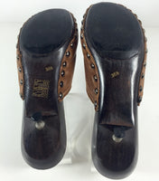 MIU MIU 1996 Brown Leather Fleece Lined Kitten Heel Clogs Size 6
