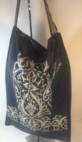 ROZAE NICHOLS Ink Blue & Cream Metal Mesh Shoulder Bag