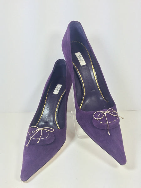 Prada Purple Suede with Off-white Contrast Stitch & Bow Gold detail Heel 39