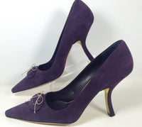 PRADA Purple Suede w/ White Stitch & Gold Bow Detail Heels Size 39