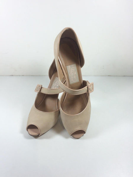 Salvatore Ferragamo Nude Suede and Patent Leather d'Orsay Peep Toe Pumps 9.5 US