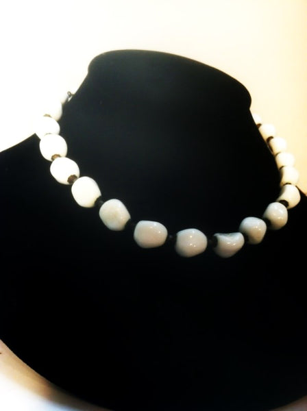 Miriam Haskell White Stone Bead Necklace
