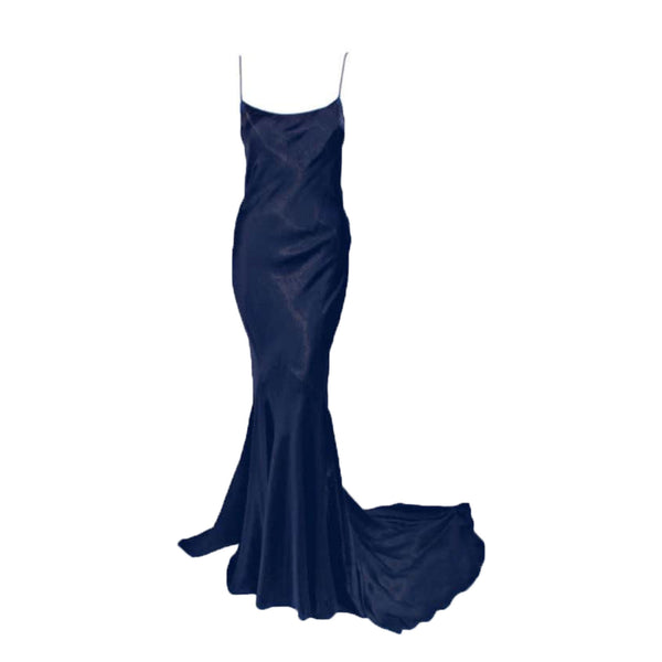 JOHN GALLIANO Navy Blue Gold Satin Bias Cut Gown with Train