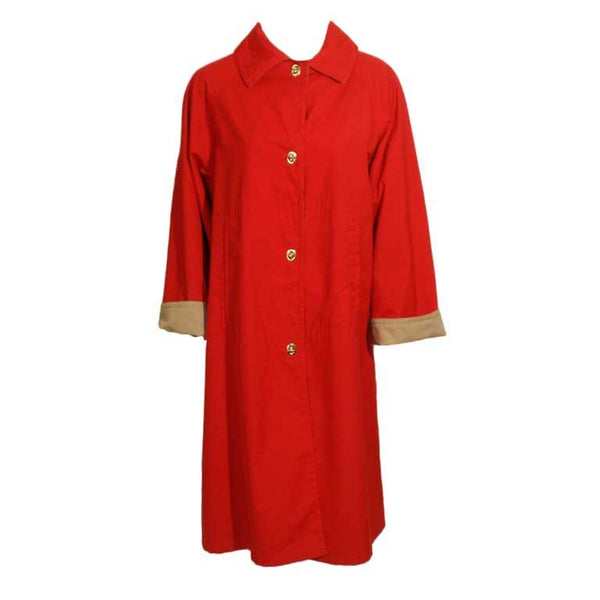 BONNIE CASHIN Vintage Red and Tan Raincoat with Gold Closures Size 16