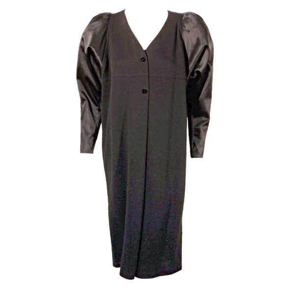 GEOFFREY BEENE Black Wool Jersey Dress with Satin Pouf Sleeves