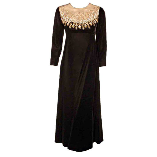 MALCOLM STARR Black Velvet Gown with Rhinestones Collar