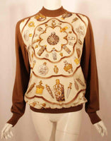 HERMES Sweater with Silk Print Size 42
