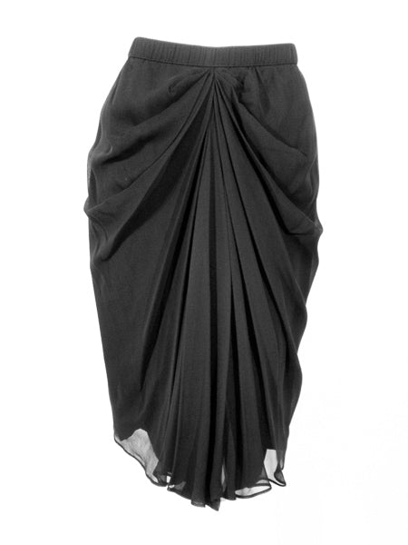 ADOLFO Black Silk Chiffon skirt w/ Gathered Front