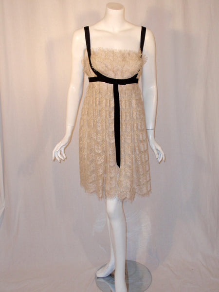 MARCHESA Cream & Gold Lace Cocktail Dress w/ Black Bow, Size 12 US
