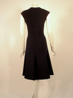 MONIQUE LHUILLIER Black Wool Sleeveless Dress Size 8