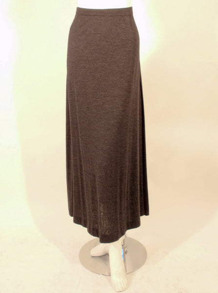 Chanel Classic Gray Wool Silk Knit Maxi Skirt