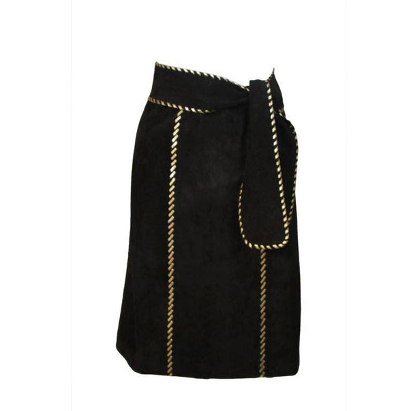 YVES SAINT LAURENT Black Suede Skirt w/ Gold Detail Size 36