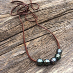 5 Floating Tahitian Pearls on Suede