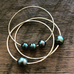 Triple Tahitian Pearl Bangle Yellow Gold