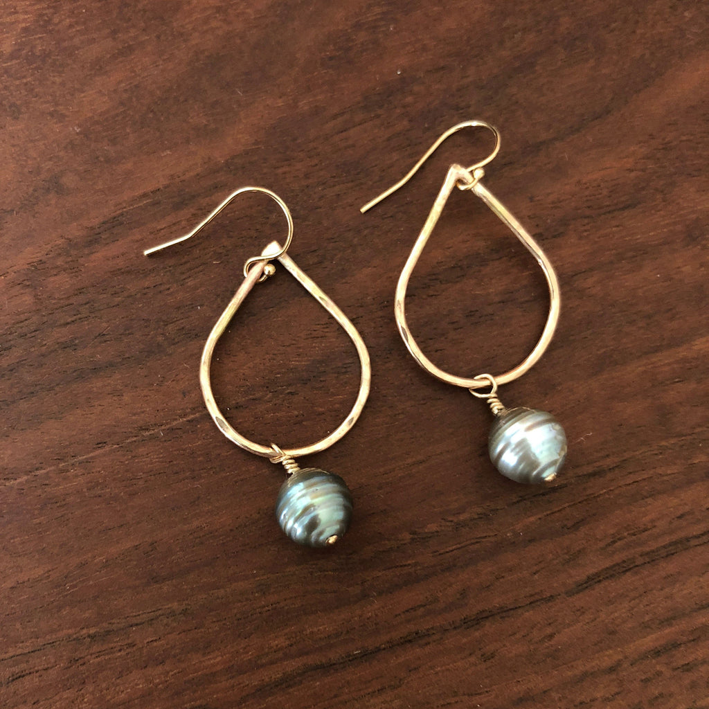 Tahitian Pearl Drop Hoop Earrings