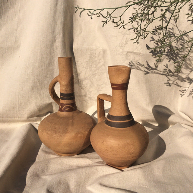 Geometric clay jugs