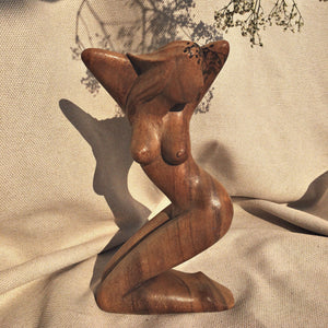 Seventies wooden sculpture