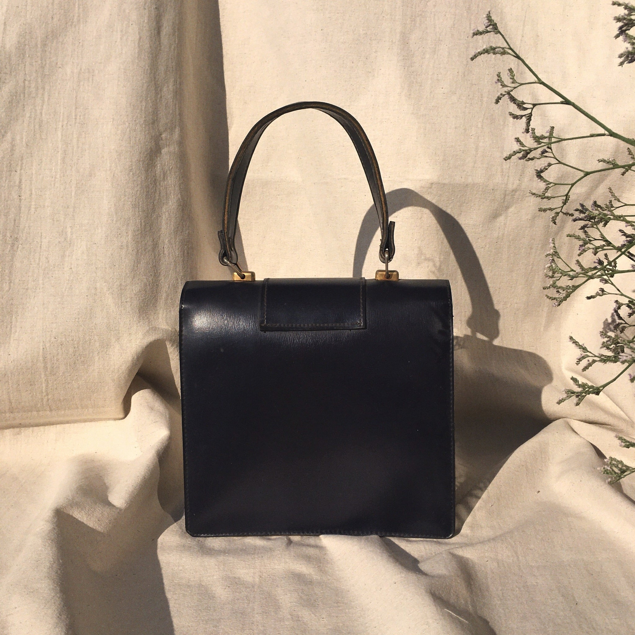 Blue leather hand bag