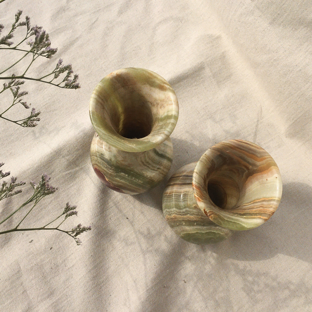 Duo green marble vases