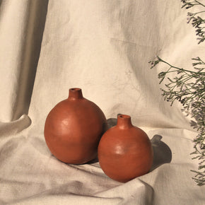 Duo of clay vases