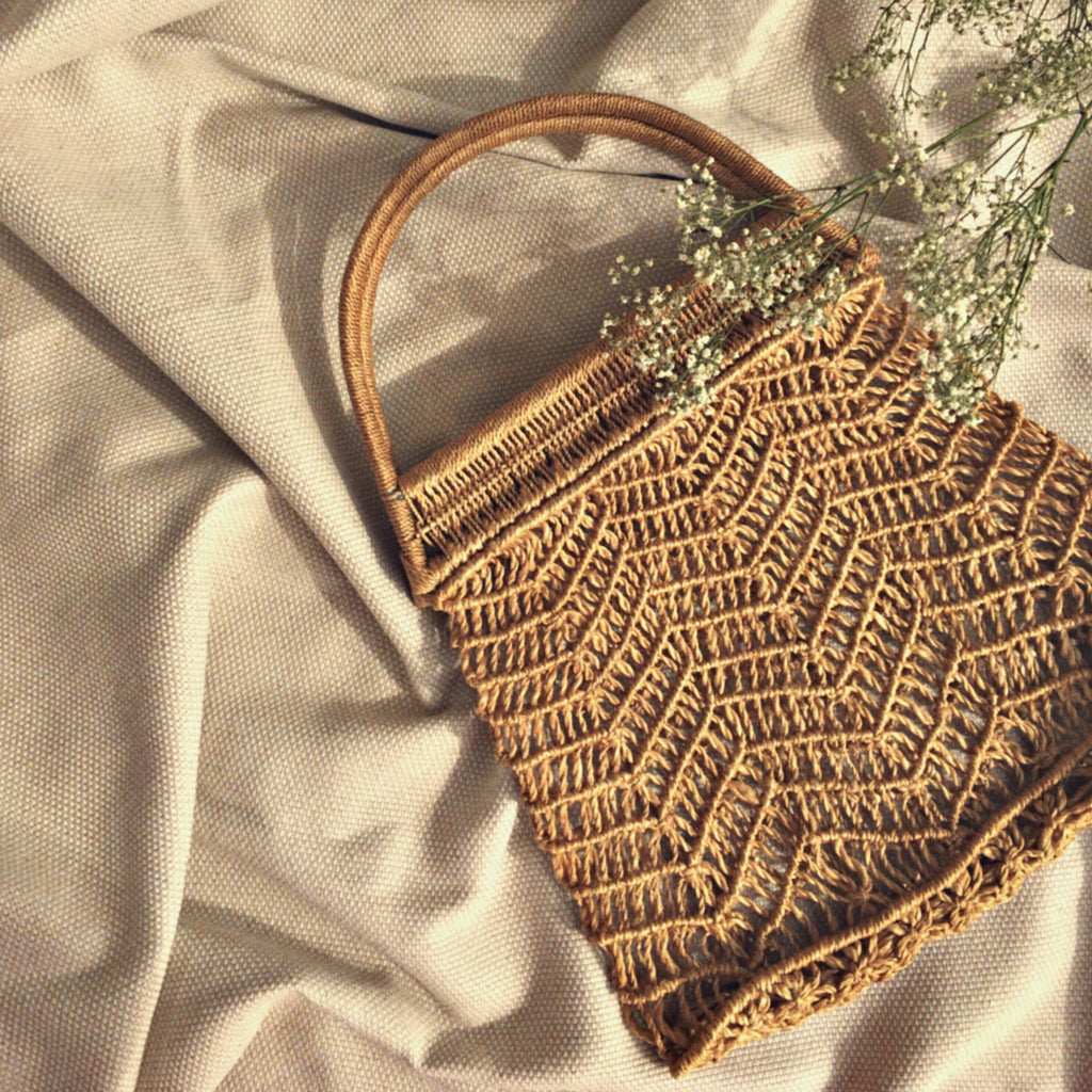 Brown macrame hand bag